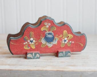 Vintage Scandinavian Napkin Holder, Handpainted Toleware Country Red, Flower, Wood orWooden, Dutch Decor, Kitchen Folk Art, Mail Holder