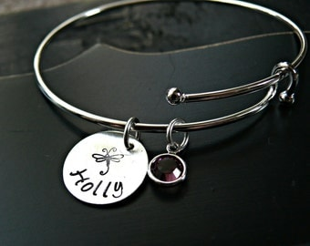 Personalized Sterling Silver Charm Bracelet with Birthstone