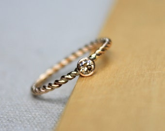 Champagne Diamond, Solid 14K yellow gold, twist band, engagement ring