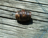 Dreadlock wood bead hand made out of dark brown birch bark, 16 x 12mm, 5mm hole, dread bead, hair bead, boho (375)