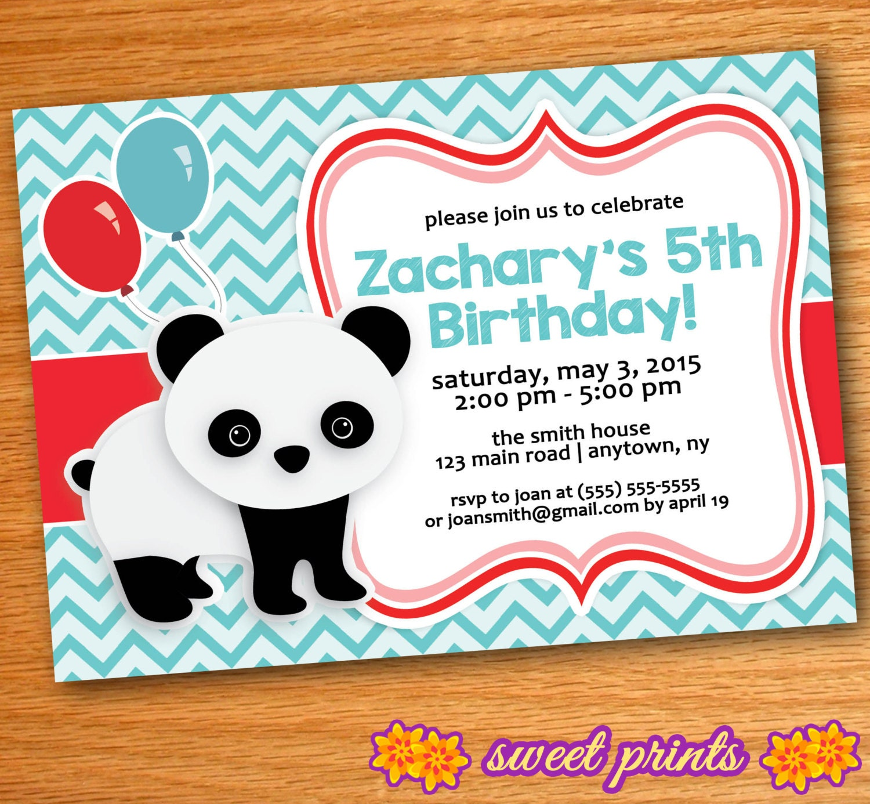 Printed Red & Teal Chevron Panda Birthday Party Invitation