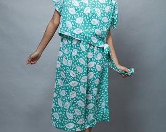 vintage 80s dress, tied side dress, cheer chiffon dress, leaf printed dress, green white XL 1X 2X