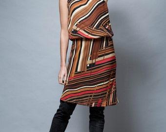 vintage dress brown abstract stripes sleeveless M - Medium