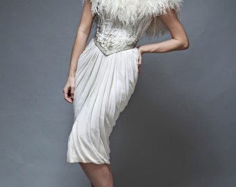 vintage 80s feather dress white ruched beaded Ruben Panis glam XXS XS