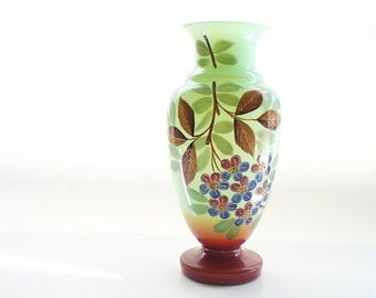 Antique Glass Vase Victorian Bristol Glass Vase Hand Painted Mantle Vase Jadeite Green Blown Glass