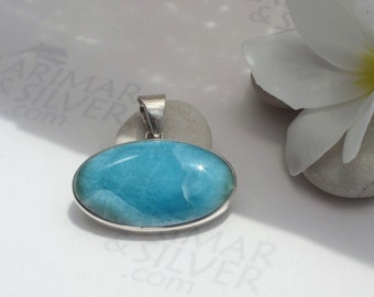 Larimarandsilver pendant, Bohemian Lagoon - mottled teal Larimar oval, aqua teal pendant, reptile skin, sea dragon, handmade Larimar pendant