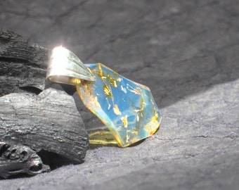 Blue amber pendant by Larimarandsilver, The Golden Fleece - night blue Dominican amber, gold blue, faceted blue amber, handcrafted pendant