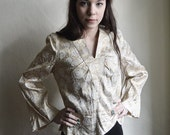 White Gold Brocade blouse - Sparkly 60ies tailored Formal Blouse with rose decor
