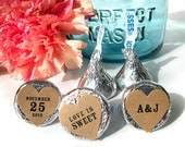 Kraft paper Hershey Kiss heart stickers for Wedding Bridal Shower favors, custom shower labels for mason jars, candy and envelopes