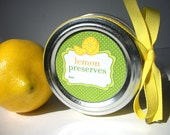 Lemon Preserves Canning jar labels, 2 inch round stickers for regular mouth jars, for food preservation, jam jar labels