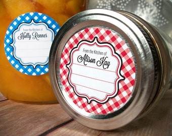 Gingham CUSTOM Kitchen labels, round stickers for canning jars or baked goods From the Kitchen of sticker personalized with your name color