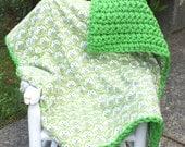 Owl baby boy blanket crochet blanket flannel blanket  green baby boy blanket OOAK blanket