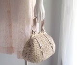 60s raffia bag / 1960s vintage ivory crochet raffia with glossy beige vinyl straps ...made in Italy by Mister Ernest