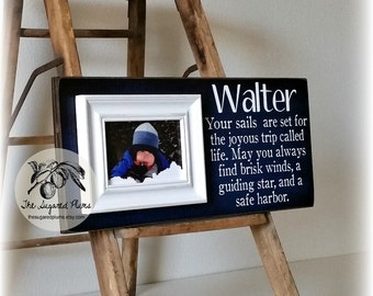 BABY PICTURE FRAME Personalized Custom Picture Frame Your Sails Are Set  8x20 Adoption Dedication Baptism Christening First Birthday Gift