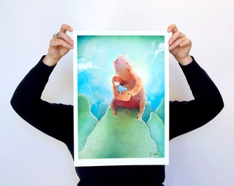 To the Wind - LARGE - A3 Print - sloth beast friend friendly girl room decor sweet breeze cloud love nature bird sky green blue turquoise