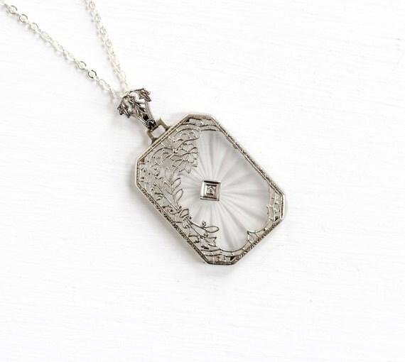 Antique Art Deco 14k White Gold Rock Crystal Diamond Necklace