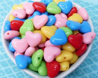 50x 15mm Shiny Puffy Heart Shaped Beads in Multicolours
