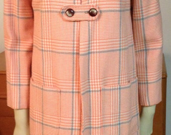 Houndstooth Peach Jacket Peach Grey White Mandarin Collar Frog Closures Pockets Small