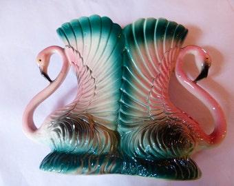 DOUBLE FLAMINGO  VASE   Porcelain in perfect condition   1986