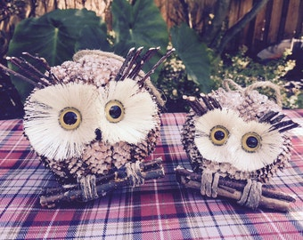 Natural Pinecone Owl Ornament Set of 2; Winter Owl Decor