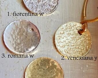 18k Gold Disc Charm - Pattern Disc Charm - Fiorentina - Romana - Venexiana - Handmade Gold Charm - Venexia Jewelry