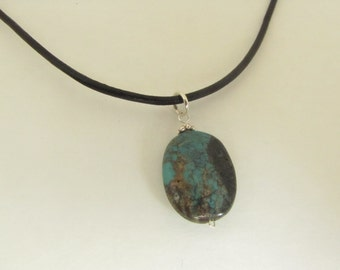 Raw Turquoise Leather Necklace, Sterling Silver Necklace, Turquoise Necklace, Gemstone Jewelry, Wire Wrapped Jewelry