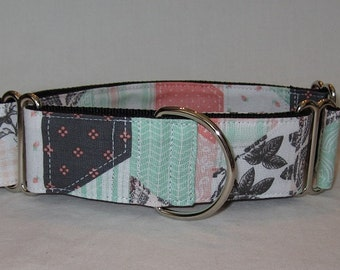 Patchwork Coral Martingale Dog Collar - 1.5  or 2 Inch - gray pink green white flowers toile classic beautiful spring summer pastel