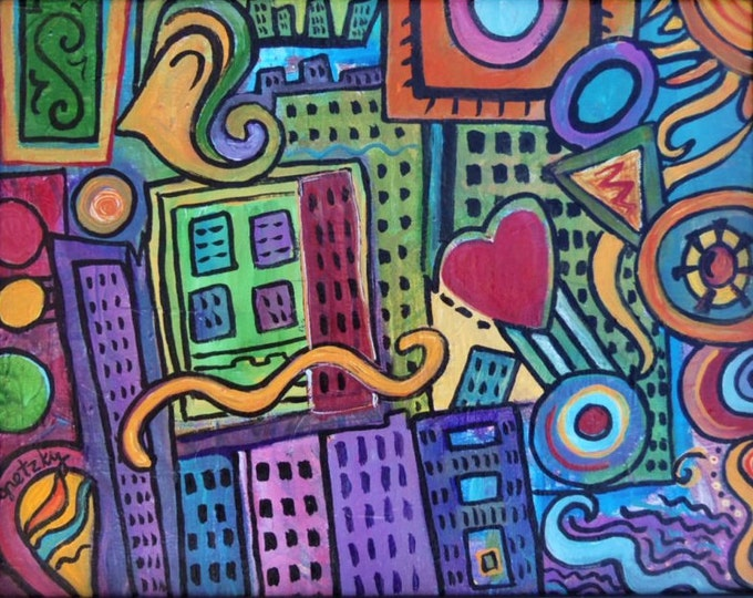 Pretty City Original colorful acrylic abstract Painting
