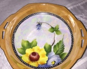 Lusterware Made in Japan/Mid Century Lusterware/Floral Candy Dish Hand Painted/Porcelain Dish/By Gatormom13