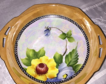 Lusterware Candy Dish Hand Painted Floral By Gatormom13