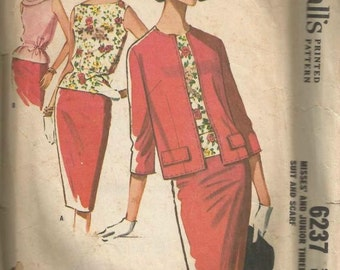 1960s Slim Skirt Pencil Skirt Sleeveless Bateau Neck Overblouse Cardigan Jacket McCall's 6237 Size 10 Bust 31 Women's Vintage Sewing Pattern