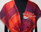 Red Silk Scarf, Handpainted Silk Shawl. Orange, Plum Hand Dyed Silk Scarf TROPICAL SPLENDOR. 11x60, Mother, Bridesmaid Gift, Gift-Wrapped.