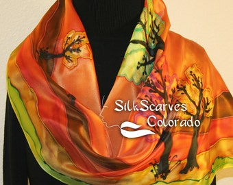 Silk Scarf Hand Painted. Orange Brown Red Green Silk Scarf SUNSET LANDSCAPE. Birthday Gift Scarf. Large 14x72. Hand Dyed Scarf. Gift Wrapped