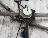 RESERVED FOR HEIDI Vintage Key Necklace With Vintage Buttons Black, Silver and White