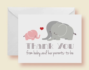 Set of 10 - Pink Elephant With Family Baby Shower Thank-You Cards