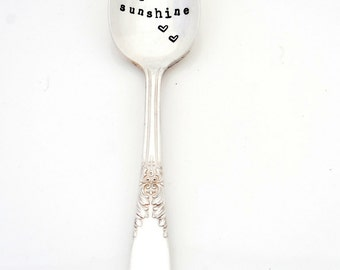 You Are My Sunshine Teaspoon. The ORIGINAL Hand Stamped Vintage Coffee Spoons™ by Sycamore Hill. My Only Sunshine When Skies are Grey, Gray.