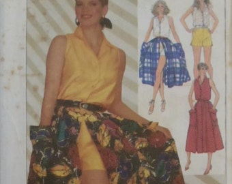 UNCUT Vintage Simplicity #7384 Size 10.12.14 Misses' Top, Skirt and Shorts