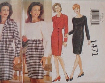 Women's Cropped Jacket and High Waisted Dress Sewing Pattern - Butterick 4233 - Sizes 12-14-16, Bust 34 - 38, Uncut