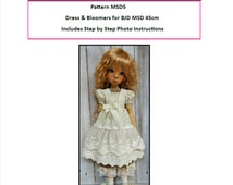 Pattern MSD5 Dress and Bloomers for BJD MSD Fit to Kaye Wiggs MSD 43 and 45cm