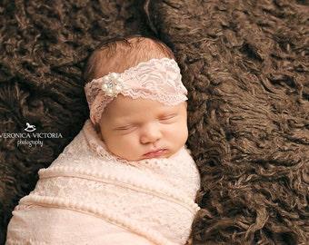 Vintage inspired peach lace headband,baptism headband, newborn headband, peach baby headband,flower girl headband, bridal headband