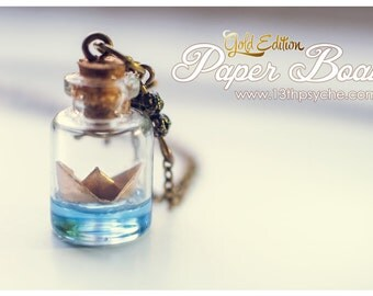 Golden Paper Boat bottle Necklace, Glass Bottle Pendant. Ocean necklace, origami boat necklace, nautical jewelry, christmas gift for women