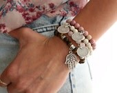 Moroccan style coins and Hamsa set of 4 Elastic beaded bracelets White howlite Turquoise,Tiger eye, Rose Quartz Smoky pink Designed by Inali
