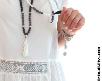 Moroccan Inspired WHITE Alabaster Beaded Long layering necklace BLACK silk tassel Bohemian Hippie Gypsy Summer necklace by Inali