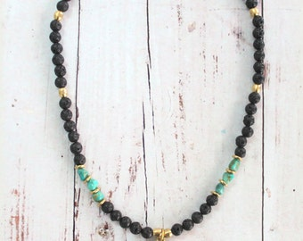 BLACK PEACE sign pendant necklace Tibetan Brass &Inlay Turquoise Black lava stone beads Hippie Gypsy Bohemian statement Necklace by Inali