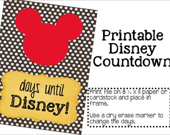Instant Download Printable Disney Countdown