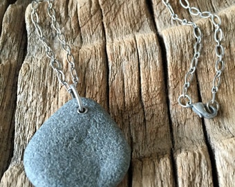 beach stone on silver plated chain