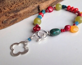Beaded Bracelet, Southwestern Bracelet, Red Coral, Turquoise, Olive Jade, Blue Quartz, Apricot Chalcedony, Silver Plated, Etsy