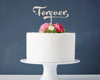 Calligraphy 'Forever' Wooden Wedding Cake Topper