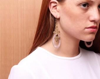JUVENAL leather earrings (copper & Salmon)