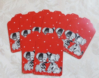 8 Puppy Love Red Punch Die Cut Tags from Vintage Playing Cards